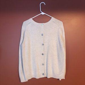 Oversized Button Back Cream Sweater